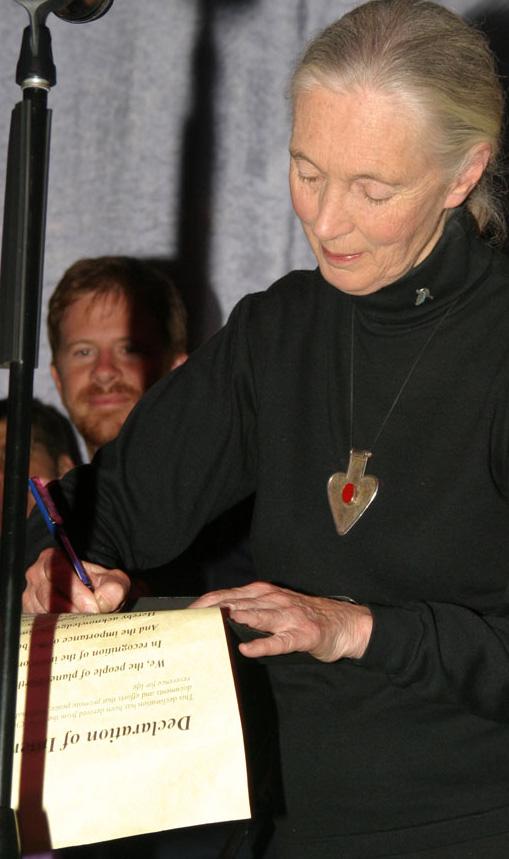 Jane Goodall Signing Declaration